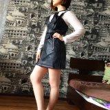 PU Leather Gothic Black Short Bodycon Dress Women Buckle Belt Sundress Sexy V Neck Plus Size Goth Punk Rock Dresses Mini#G8