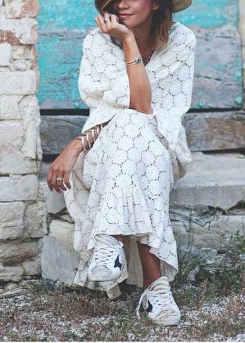 Casual Lace Bell Sleeve Hollow Out Loose Pure Colour Dress