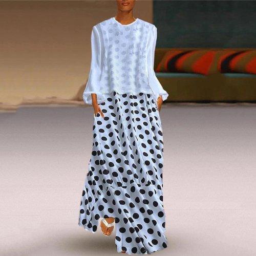 Fashion Polka Dot Round Neck Long Sleeve Maxi Dresses