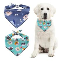 Dog Scarf Bandanas Cotton Puppy Printed Scarfs Bibs Washable Dog Headband Bow Tie Triangular Bandage For Large Dog Accessories N