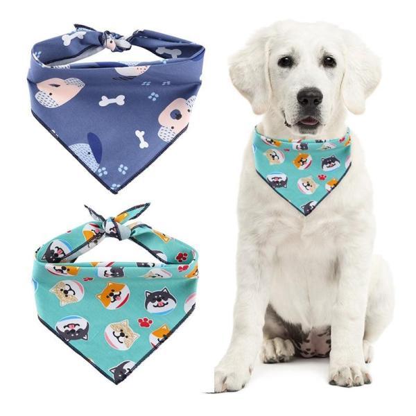 Dog Scarf Bandanas Cotton Puppy Printed Scarfs Bibs Washable Dog Headband Bow Tie Triangular Bandage For Large Dog Accessories N