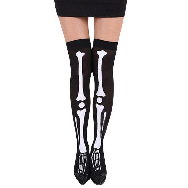 Women Halloween Skull Cosplay Party Printed Pantyhose Stockings #3
