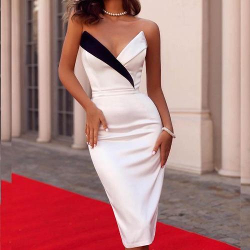 Fashion Pure Color V Neck Splicing Sleeveless Bodycon Dress