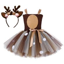 Girls Deer Costume Outfits Brown Tulle Dress with Headband