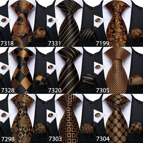 Fashion Men Tie Luxury Gold Blue Black Striped Paisley Silk Wedding Tie For Men EBUYTIDE Designer Hanky Cufflinks Gift Tie Set