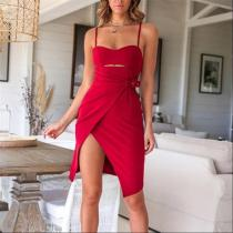 Sexy Tube Top Solid Color Waist Dress