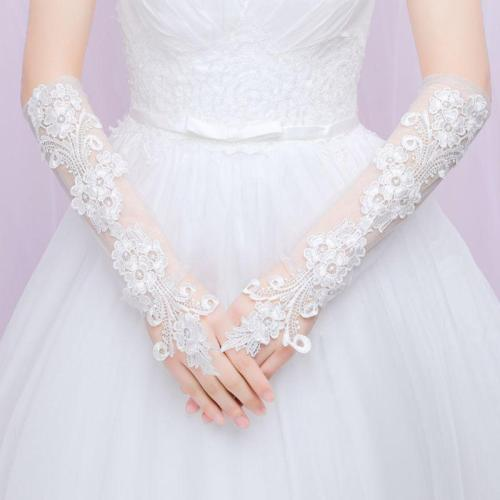 Ladies Sweet Embroidery Floral Lace Long Gloves Sheer Mesh Elbow Length Bridal Wedding Prom Sunscreen Fingerless Mittens