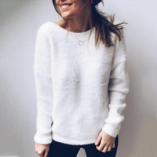 Casual Bare Back Pure Colour Sweater
