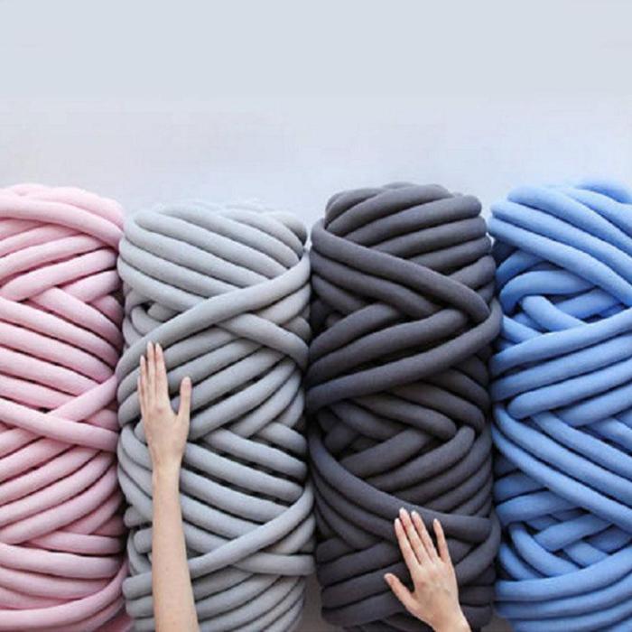 1KG thick super Bulky chunky yarn for hand knitting Crochet soft big cotton DIY Arm Knitting Roving Spinning yarn for blanket