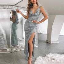 Deep V Neck High Slit Paillette Elegant Design Dress