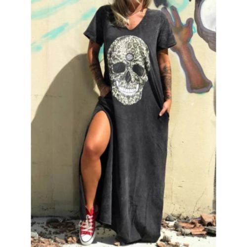 3XL Plus Size Summer Dresses Women Punk Style Loose Short Sleeve Skull Print Shirt Dress Street Side High Split Flower Print