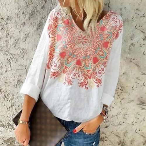 Fashionable V-neck Cotton Linen Printed Long-sleeve T-shirt