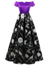 1950s Off Shoulder Floral Plus Size Dress