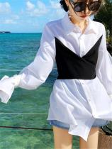 Chiffon Contrasting Colors Long Sleeve Fake Two Shirts