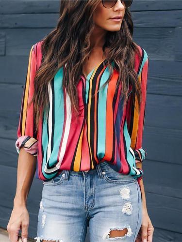 Autumn And Winter   Fashion Rainbow Bar Printing Long-Sleeved Shirts