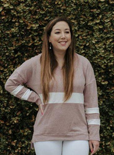 V Neck Chunky Striped Sweatshirt