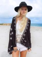 Beautiful Black Long Sleeve Printed Shawl Cover-up Tops