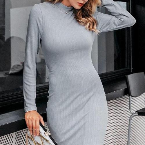 Sexy Temperament Striped Solid Color Dress
