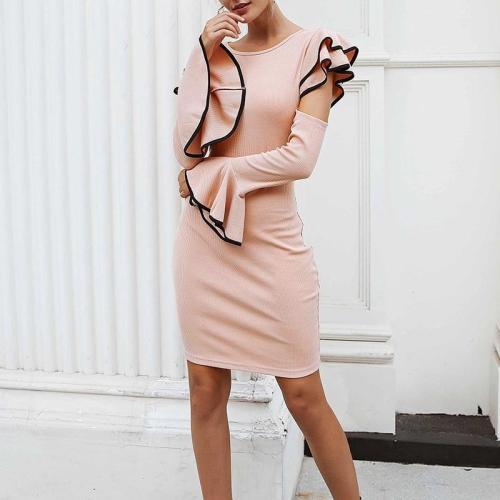 Off Shoulder Ruffle Sleeve Knit Dress