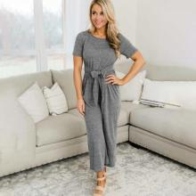 EBUYTIDE Classic Solid Color Short Sleeve Bow Jumpsuit