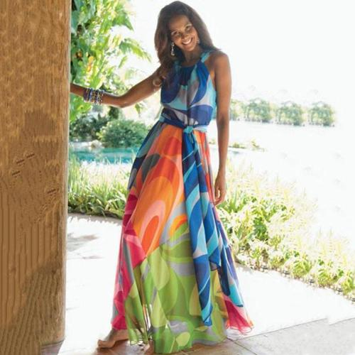 Floral-Print Straps Cross Neck Sleeveless Beach Vacation Dress