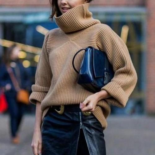 brief causal loose heap collar long sleeves sweater