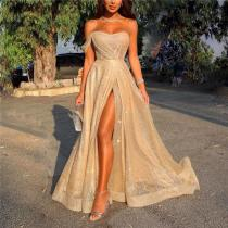 Sexy One Shoulder Slim Fit Split Evening Maxi Dress