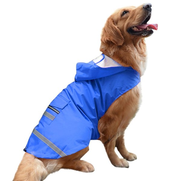Trsnser Dog Clothes Blue Golden Retriever Large Dogs Hooded Legs Waterproof and Rainproof Pet Raincoat 19Mer25 P35