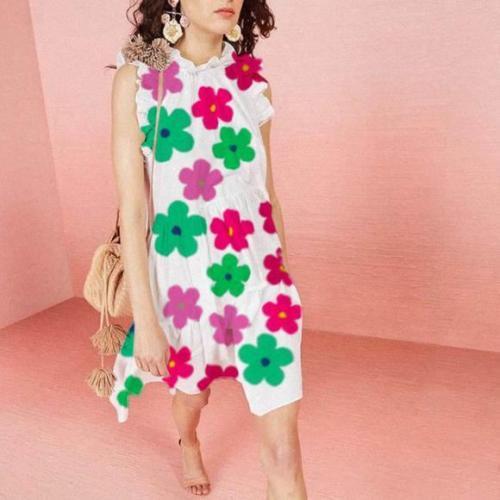 Trendy Floral Sleeveless Mini Dress