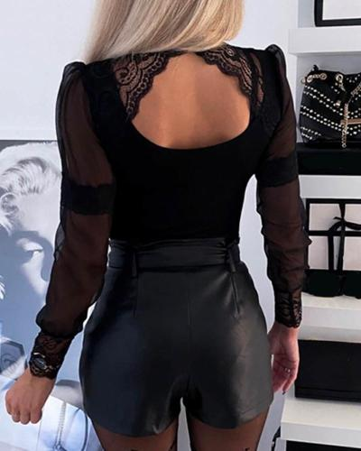 Backless Lace Insert Cut Out Top