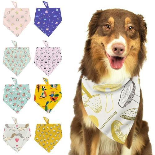 Pet Dog Cat Bandana Neckerchief Triangle Neck Neck Polyester Scarf Saliva Towel Cute Cartoon Pattern Pet Accessories Supplies
