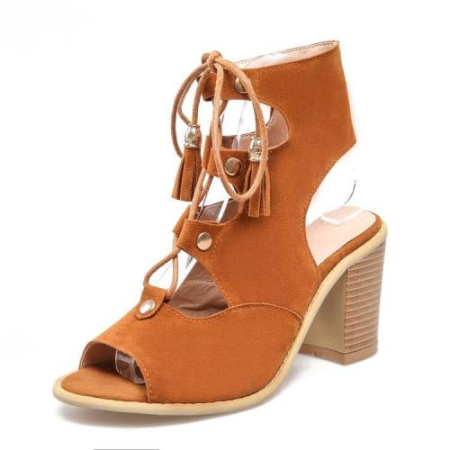 Cut Out Lace Tassels Peep Toe High Chunky Heels Sandals