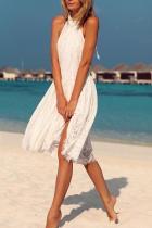 Sexy White Sleeveless Plain Mini Dress