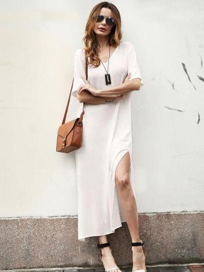 Simple Split-side V-neck Midi Dress