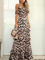 Bohemian Leopard Print Boat Neck Pleated Ruffled Dress