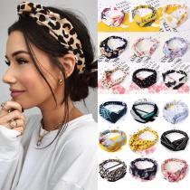 Women Headband Vintage Cross Knot Elastic Hair Bands Soft Solid Hairband Girls Hair Accessories Floral Turban Bandanas Head Wrap
