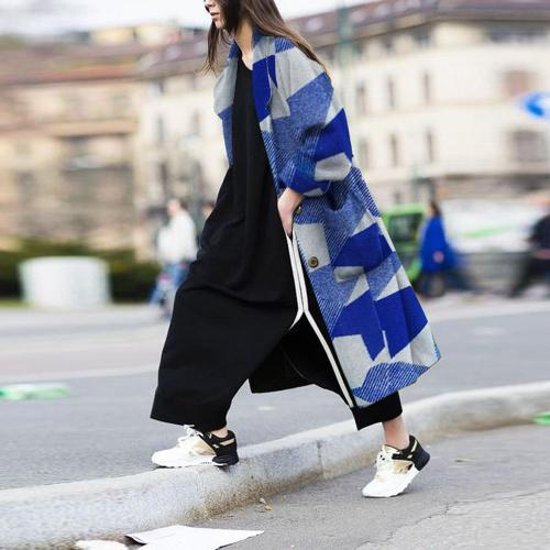 Autumn And Winter Fashion Geometric Pattern Coat