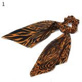 Elegant Big Flower Leopard Printed Scrunchie Ribbon Elastic Hair Bands Women Girls Knotted Long Streamers Scarf Hair Accessories
