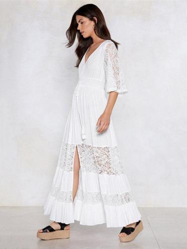 V-neck Lace Elastic Waist Maxi Dress