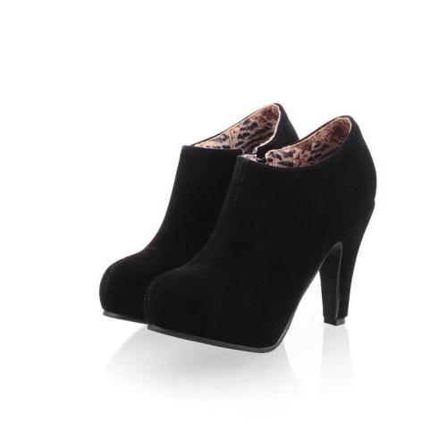 Side Zipper Round Toe Stiletto High Heels Short Boots