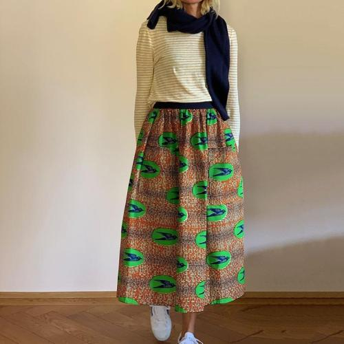 Women's fashion high-waist print semi-body skirt RY58