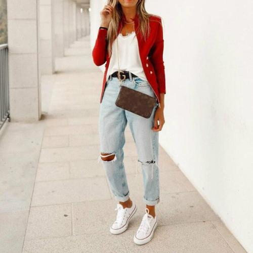 Button Stand Collar Women Jacket Fashion Street Long Sleeve Red Blue Coat Office Work Lady Slim Thin Jacets Woman Red Black Blue