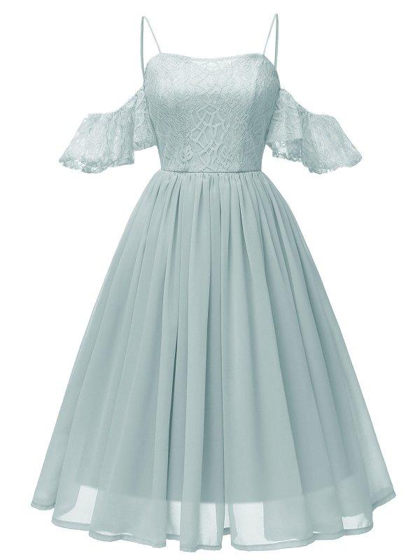 1950s Lace Cold Shoulder Strap Dress