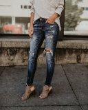 Ripped Jeans Wear White Trim Pants