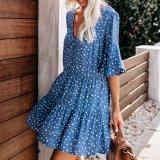 Summer Deep V-Neck Polka Dot Printed Wrinkle Dress
