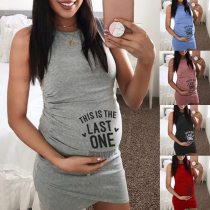 Maternity Dresses Clothes For Pregnant Women Women Maternity Summer Sleeveless Letter Print Casual Sundress Pregnancy Dress