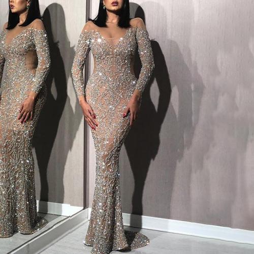 Fashion Sexy Deep V Shiny Slim Tail Evening Gown