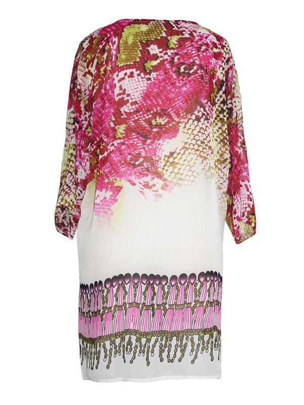 V-neck 3/4 Sleeves Printed Bohemia Mini Dress