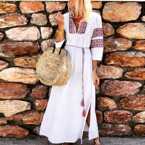 Summer Ethnic Style Printed Fork Cotton And Linen Maxi Dress