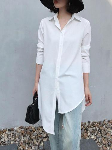 Casual Pure Colour Irregular Belted Striped Shirt